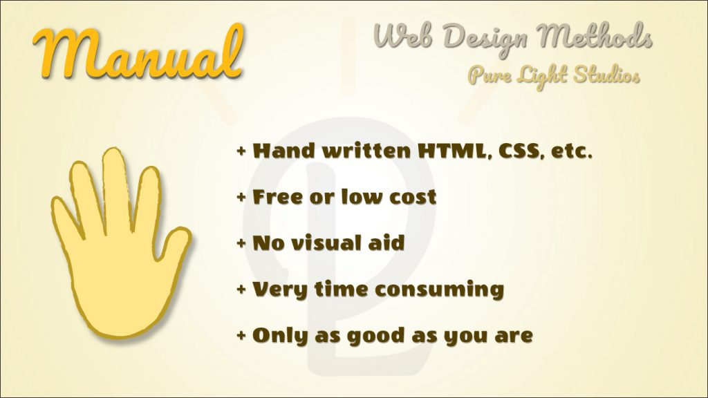 DIY web design infographic describing pro's and con's of designing websites by hand coding